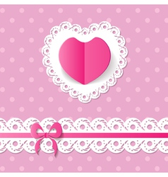 Pink background with a heart and a band vector