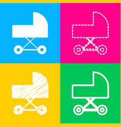 pram sign four styles of icon on vector image