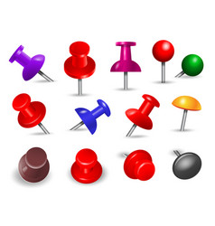 red thumbtack office supplies for paper note push vector image
