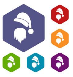 santa claus hat and beard icons set vector image