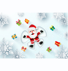 santa claus laying on snow making a snow angel vector image