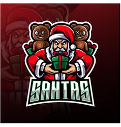 santa esport mascot logo design vector image