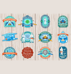 Set disinfection and cleaning services patch vector