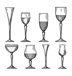 set of different drinking glasses hand vector image