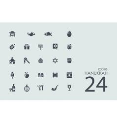 Set of Hanukkah icons vector image