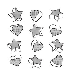 set of isometric 3d hearts and stars in pop art vector image
