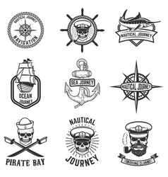 Set of nautical emblems design elements for logo vector