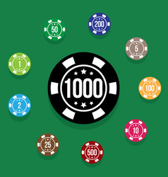 set poker chips on poker table green color vector image