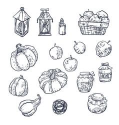 set with household elements in vector image