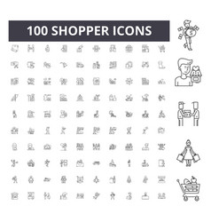 shopper line icons signs set outline vector image
