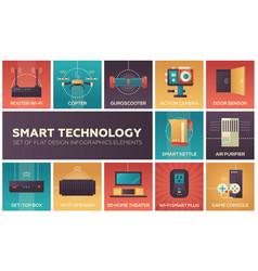 Smart technology - set of flat design infographics vector