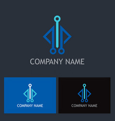 square line technology logo vector image