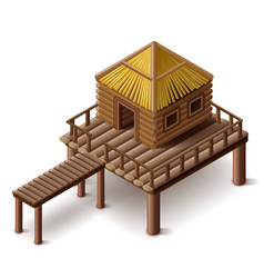Stilt house isolated vector