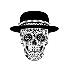 Stylized sugar skull in hat black and white vector