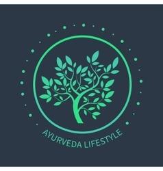 T tree logo Ayurvedic symbol vector