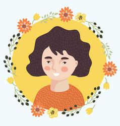 teen girl face vector image