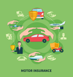 transport insurance round composition vector image