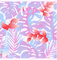 tropical plant seamless pattern heliconia palm vector image