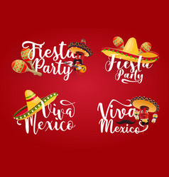 viva mexico mexican fiesta party icon with chilli vector image