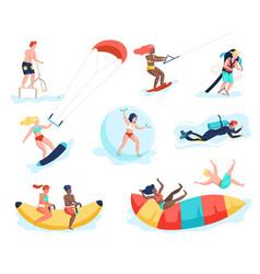water activities people doing beach sports men vector image