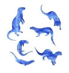 Watercolor silhouettes of a otter vector