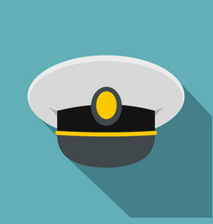 White nautical hat icon flat style vector