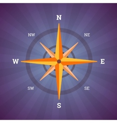 Wind rose compass in vintage colors vector