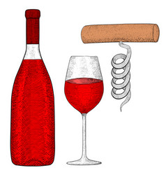 Wine set bottle of red wine with glass and vector