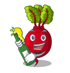 With beer whole beetroots with green leaves vector