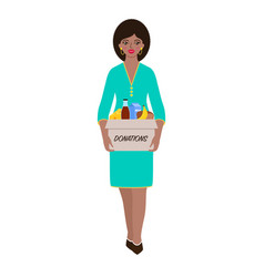 Woman with donations vector