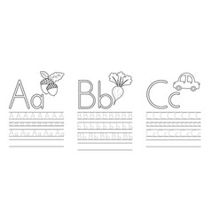 Writing practice letters abc coloring book vector