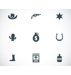 black wild west icons set vector image vector image