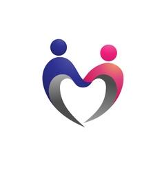 couple shape love logo vector image vector image