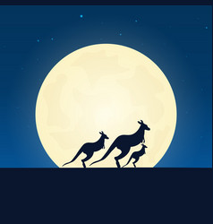 kangaroo silhouette banner with moon on the night vector image