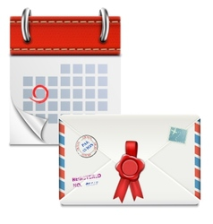 Loose-leaf Calendar With Closed Envelope vector image vector image