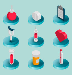 medical flat isometric set vector image vector image
