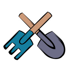 spade and pitchfork icon cartoon vector image