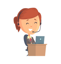 businesswoman character sitting with laptop and vector image