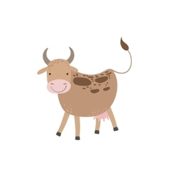 Cow With Brown Spots And Udder Standing vector image vector image
