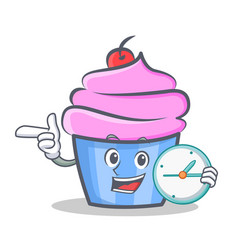 cupcake character cartoon style with clock vector image vector image