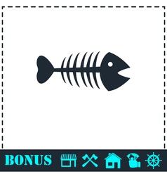 Fishbone icon flat vector