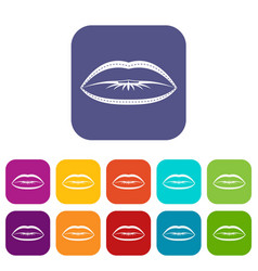 Lips with lines drawn around it icons set flat vector