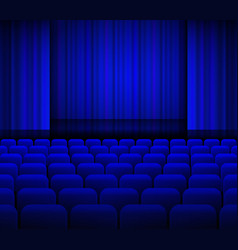 Open theater blue curtains with light and seats vector image