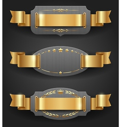 Ornate metal frames with golden decor and ribbons vector image vector image