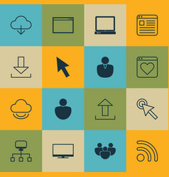 set of 16 world wide web icons includes local vector image