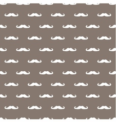 Tile hipster moustache white and brown background vector image vector image