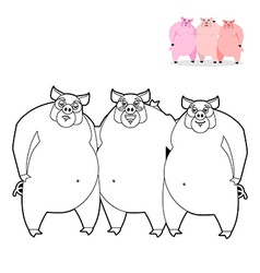 3 pig coloring book three little pigs in linear vector