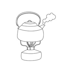 boiling steaming kettle with water vector image