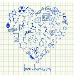 i love chemistry doodles in heart vector image