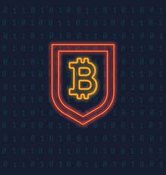neon bitcoin logo crypto currency glowing icon vector image vector image